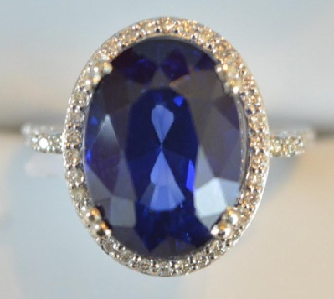 9.61cttw Sapphire and Diamond 14K Gold Ring