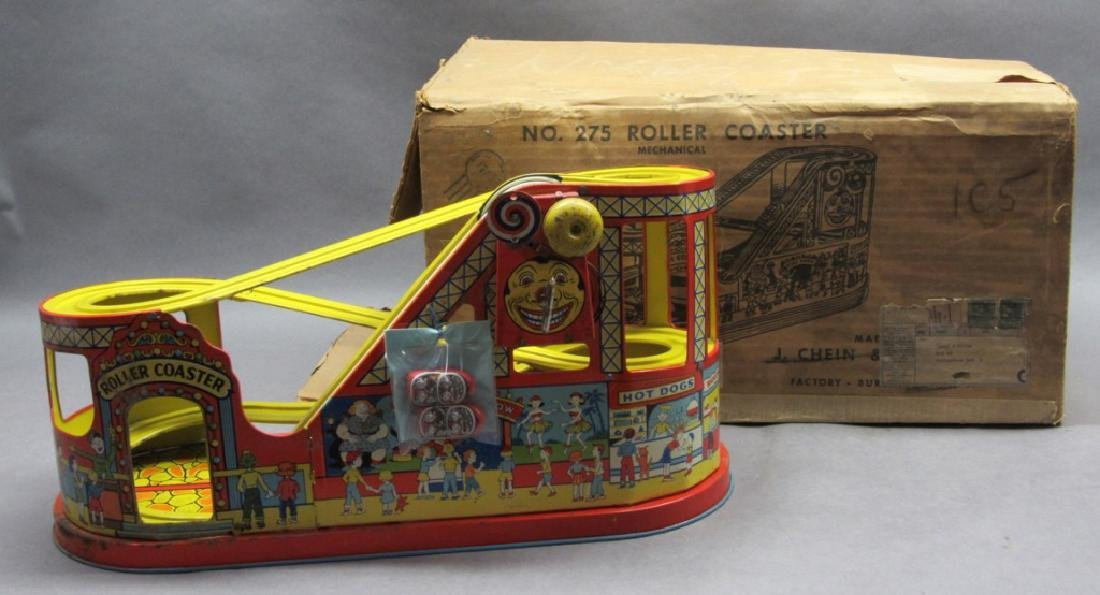 J Chein No. 275 Roller Coaster with box- w/cars