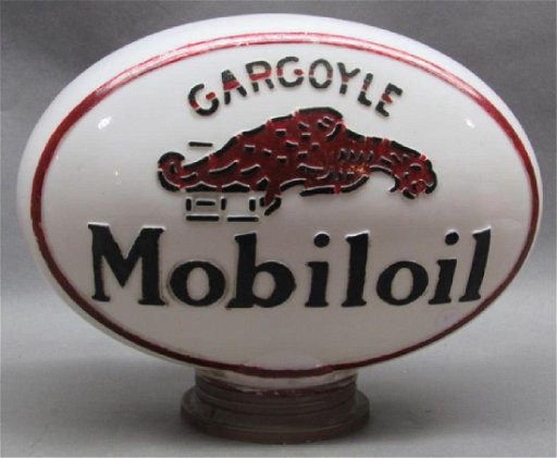 1920s Mobiloil Gargoyle Gas Pump Globe w/trim