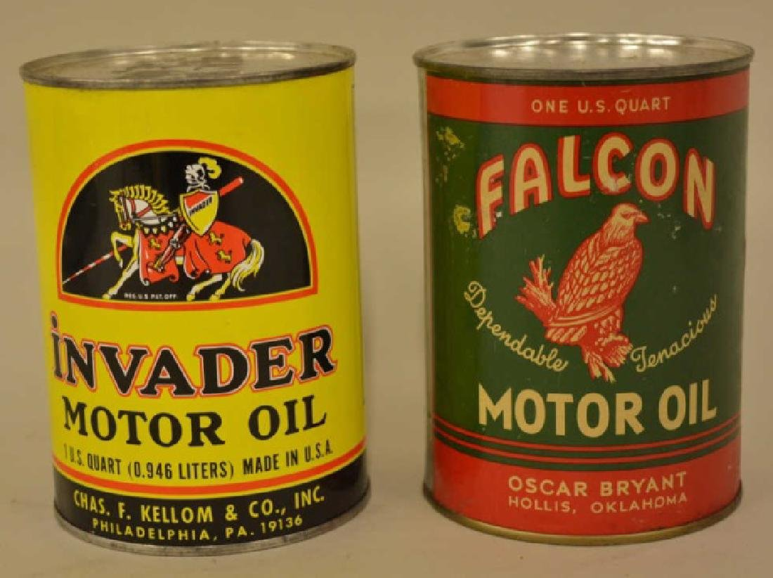 Lot Of 2 Vintage Oil Cans Invader & Falcon