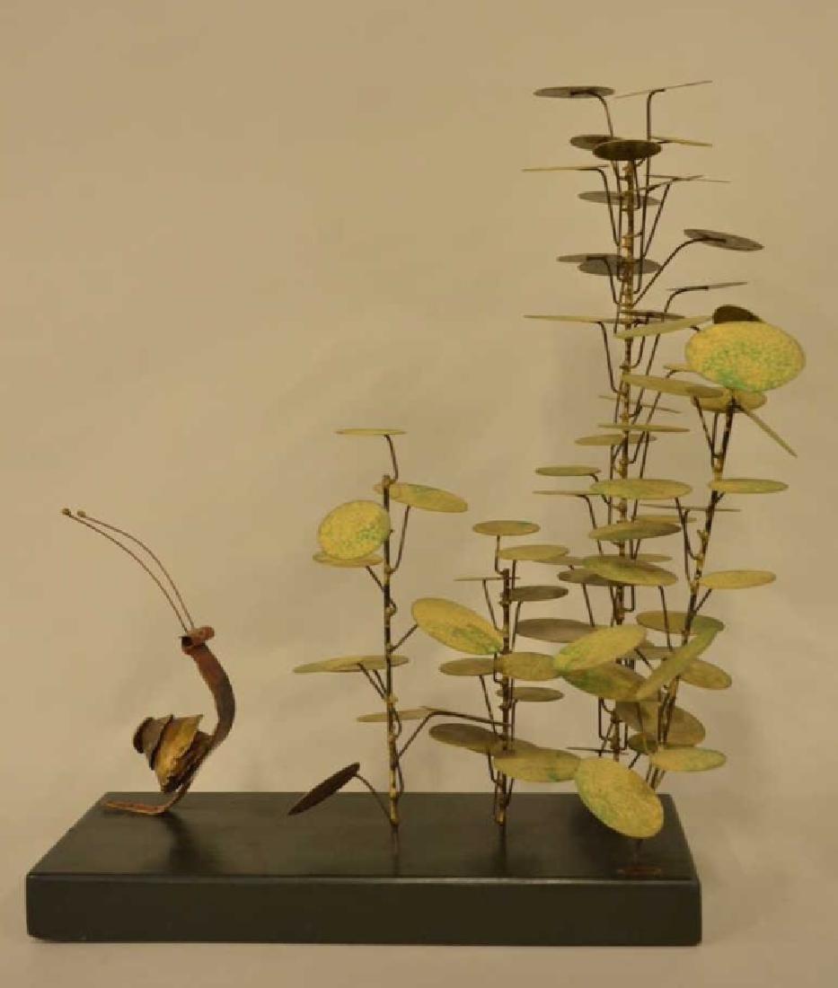 Jere Money Tree & Snail Brass Sculpture