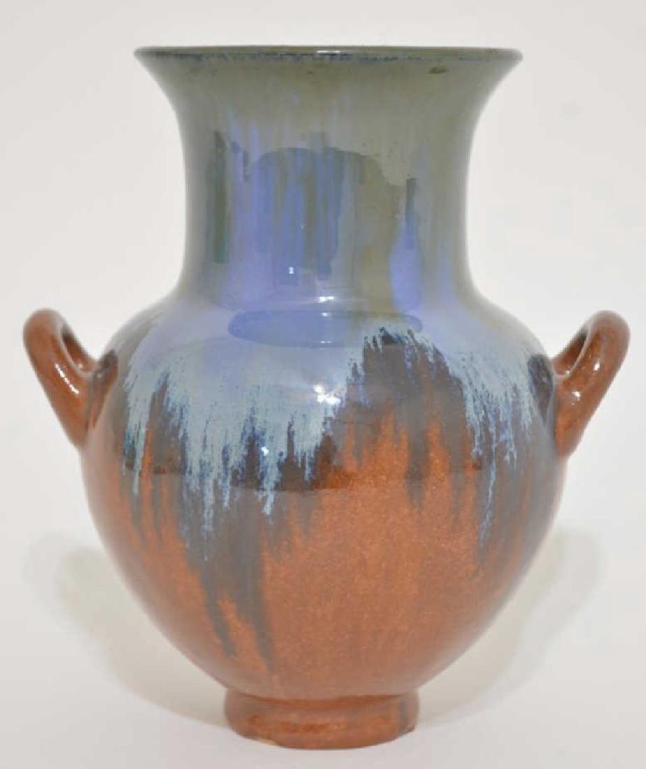 """Fulper Pottery 8"""" Blue/Brown Glaze Handled Vase"""