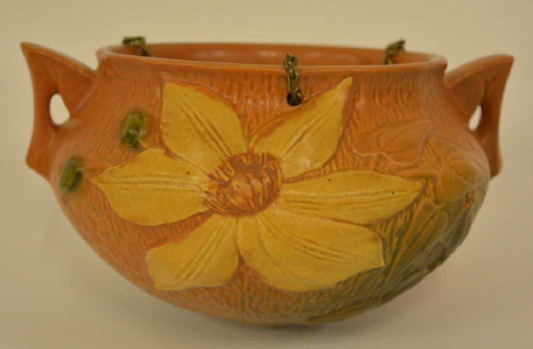 Roseville Pottery Brown Clematis Hanging Planter