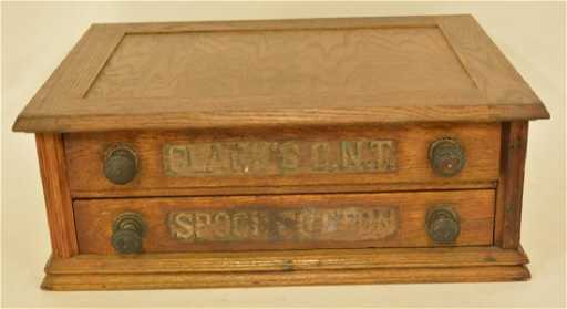 - Antique Clark's O.N.T. 2-Drawer Spool Cabinet