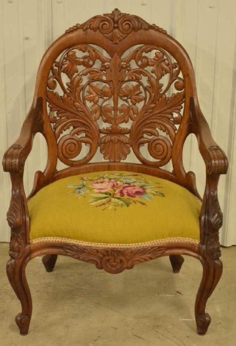 Victorian Belter Carved Rosewood Armchair
