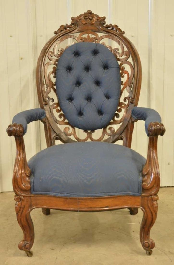 fVictorian Belter Carved Rosewood Armchair