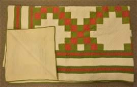 "Antique Hand Sewn 80"" x 89"" Quilt"