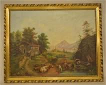 19c. Folk Art Farm Scene Oil on Canvas
