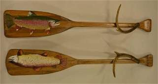 Two Beautiful Vintage Hand Painted Boat Paddles