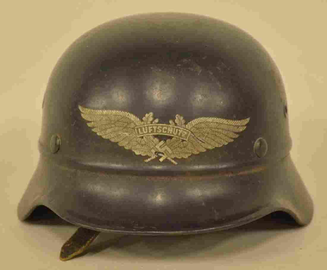 WWII German Luftschutz Combat Beaded Helmet