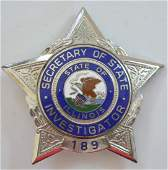 Obsolete ILL Secretary Of State Investigator Badge