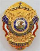 Obsolete ILL Secretary Of State Corporal Badge