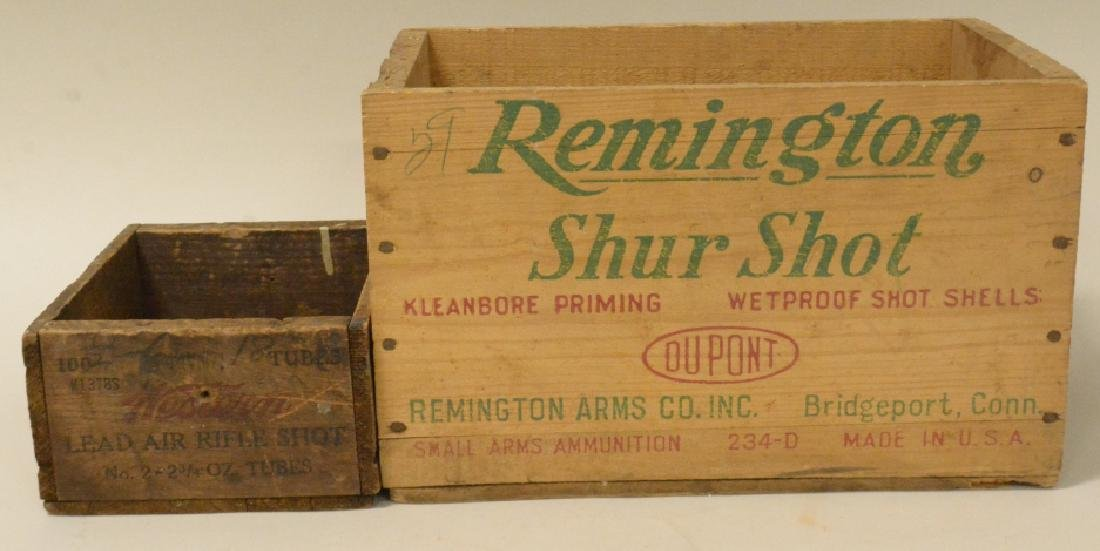 Lot Of 2 Vintage Wooden Ammo Boxes