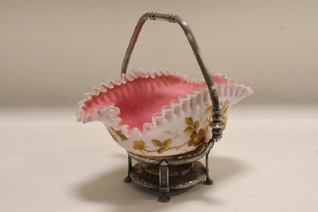 1880's Webb Satin Glass Brides Basket - 4