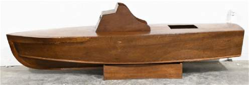 Large Vintage Wood Boat Model On Stand