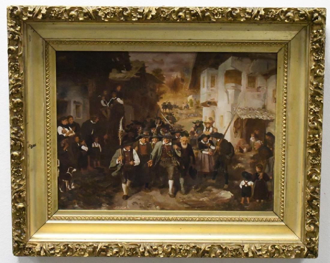 """Franz von Defregger """"The Last Bid"""" Oil On Board"""
