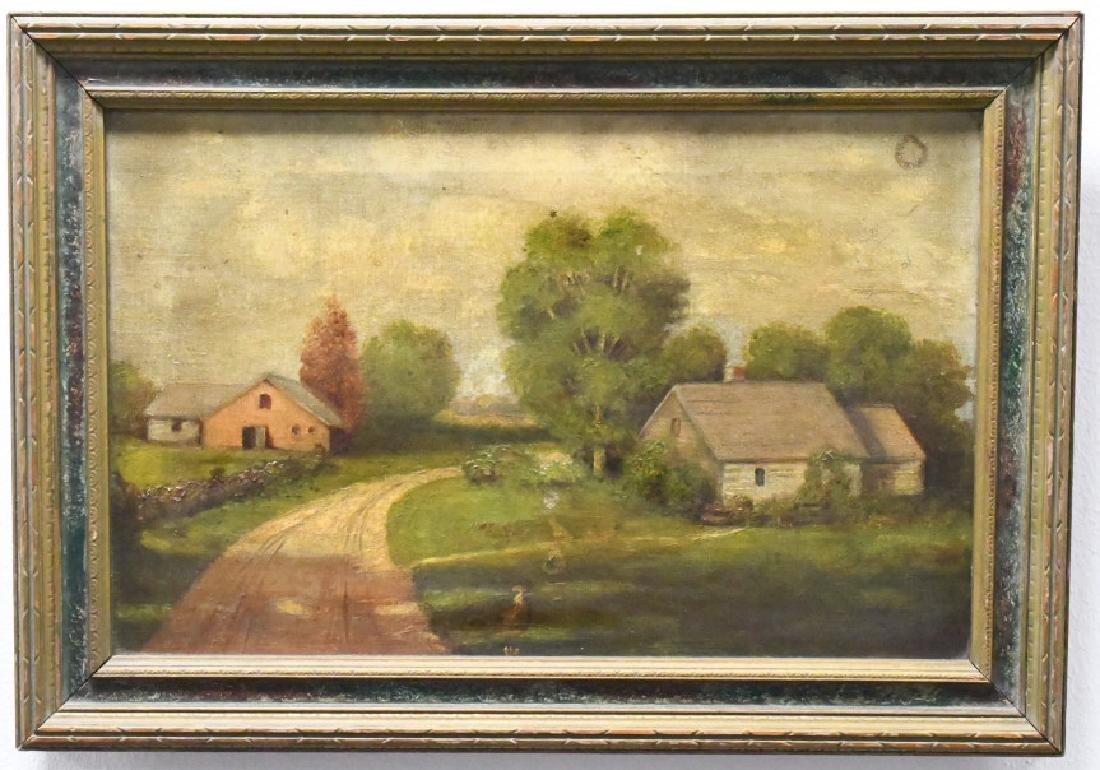 19th Century Farm Oil On Canvas