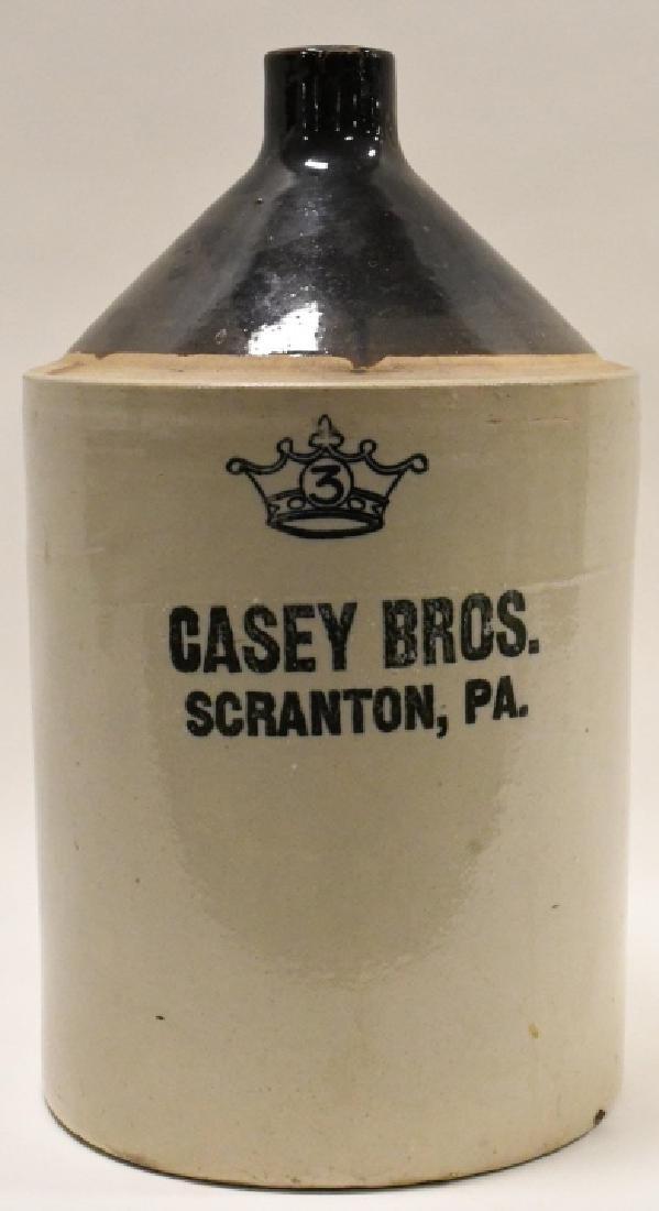 Casey Bros. Scranton PA  3 Gallon Stoneware Jug