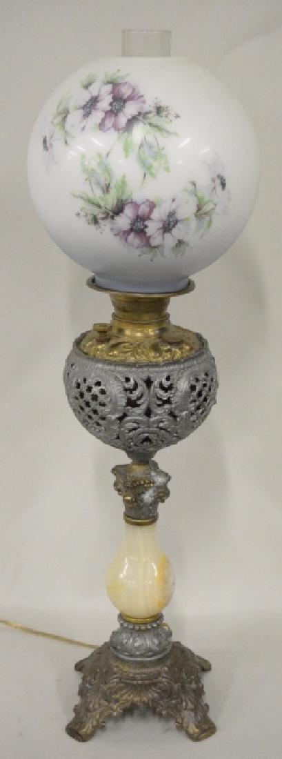 Antique Electrified Banquet Oil Lamp