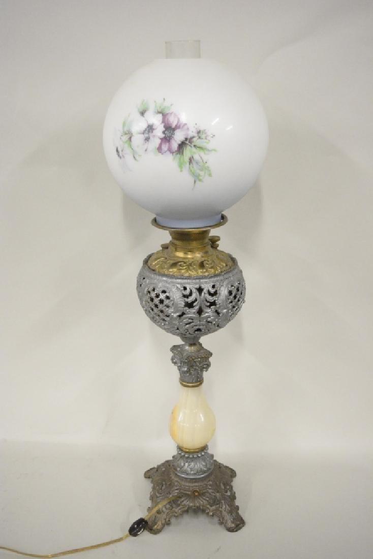 Antique Electrified Banquet Oil Lamp - 5