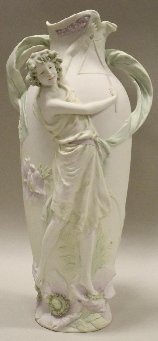 Royal Dux Young Woman Playing Triangle Vase