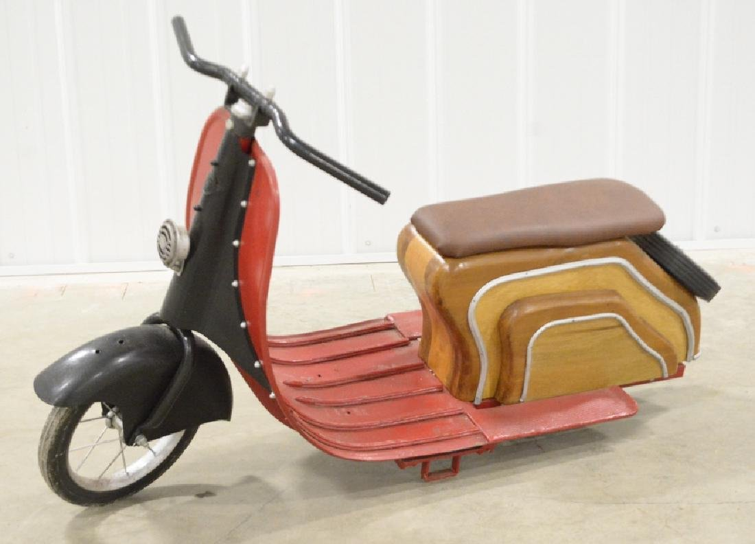 Custom Wood & Metal Vespa Style Ride Toy Scooter