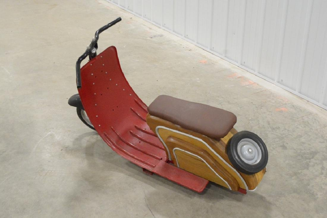 Custom Wood & Metal Vespa Style Ride Toy Scooter - 3