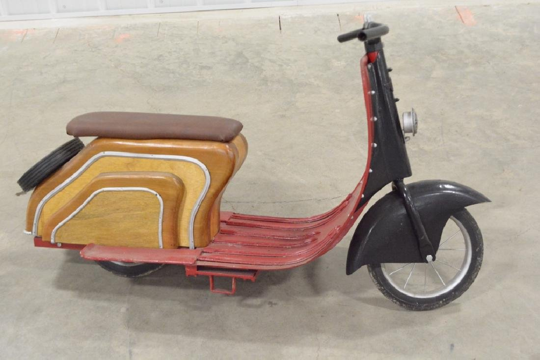 Custom Wood & Metal Vespa Style Ride Toy Scooter - 4