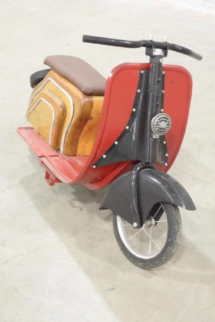 Custom Wood & Metal Vespa Style Ride Toy Scooter - 5