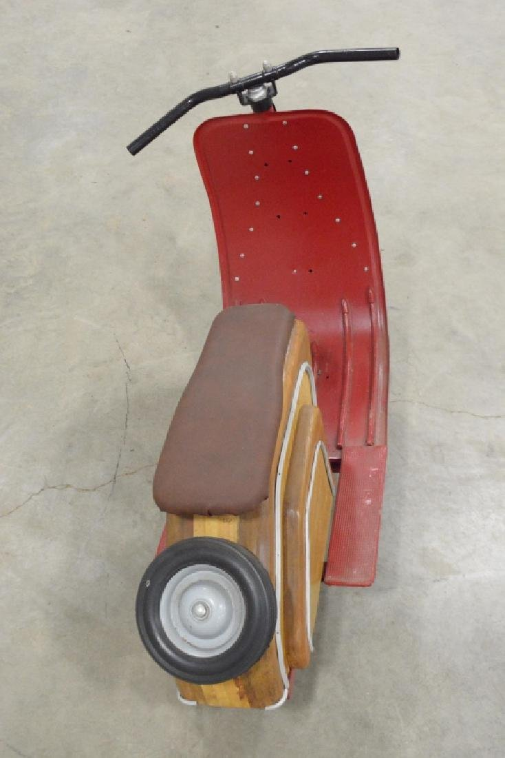 Custom Wood & Metal Vespa Style Ride Toy Scooter - 6