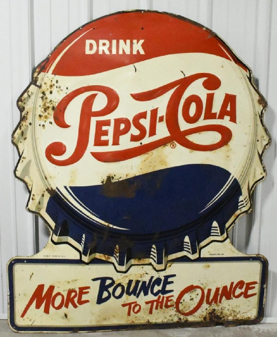 Large SST Embossed Pepsi-Cola Advertising Sign
