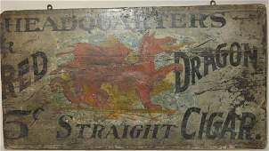 Double Sided Wood Red Dragon Cigar Adv. Sign