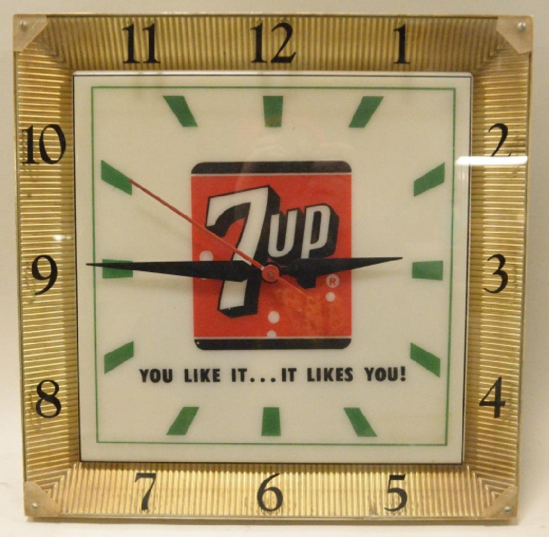 Vintage 7up Lighted Advertising Clock