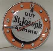 PAM St. Joseph Aspirin Lighted Advertising Clock