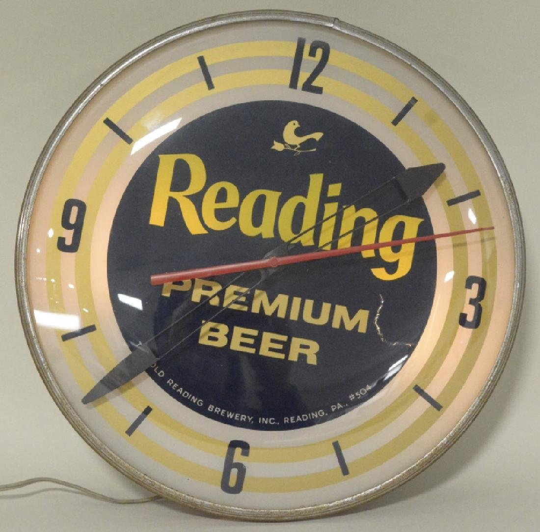 PAM Reading Premium Beer Lighted Advertising Clock