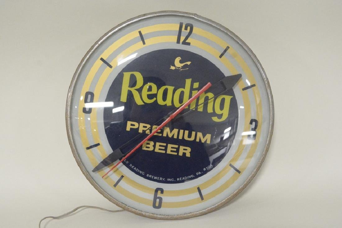 PAM Reading Premium Beer Lighted Advertising Clock - 2