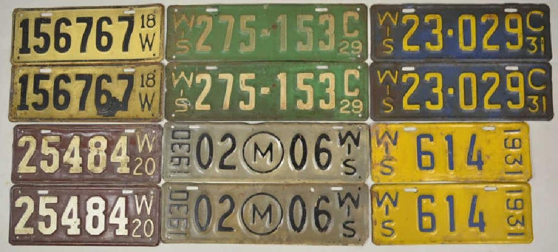 1918-1931 Wisconsin License Plate Matched Pair Lot