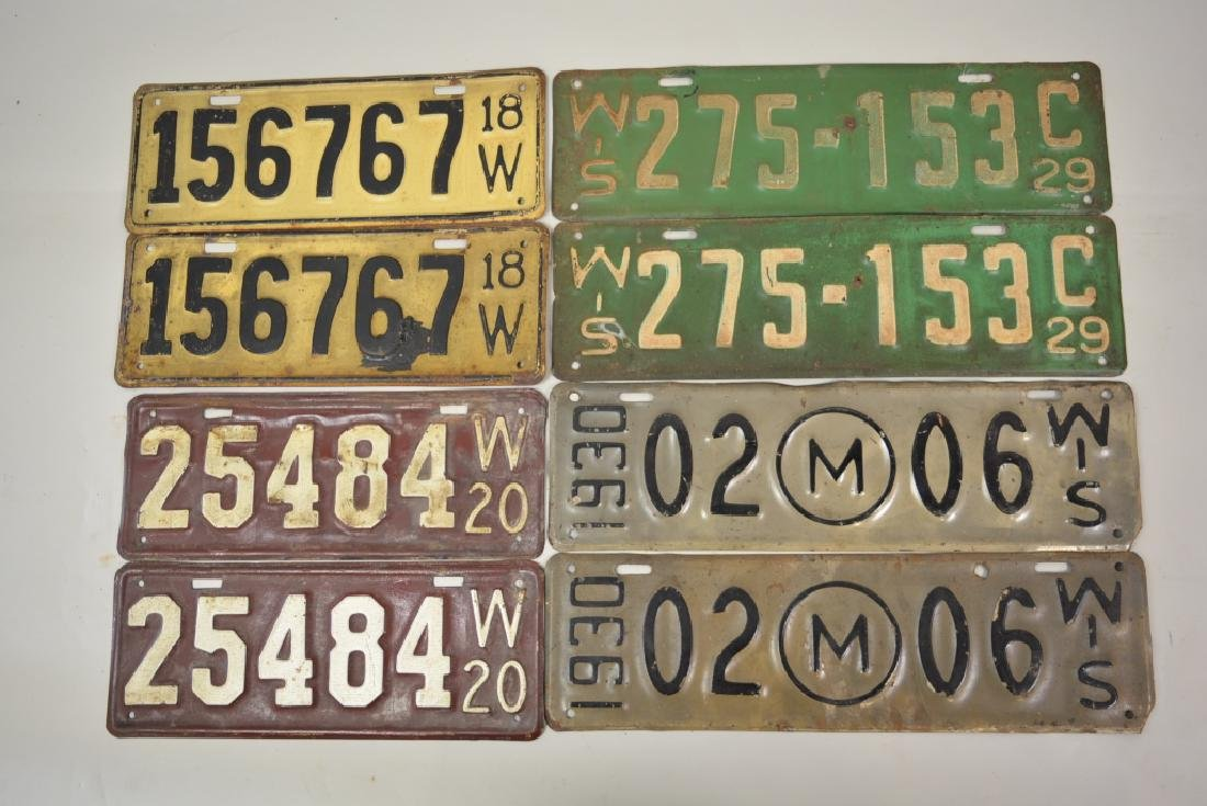 1918-1931 Wisconsin License Plate Matched Pair Lot - 2
