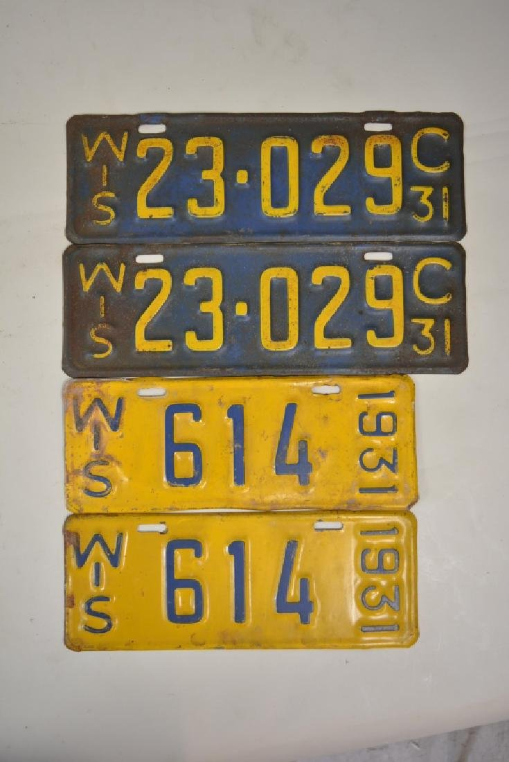 1918-1931 Wisconsin License Plate Matched Pair Lot - 3