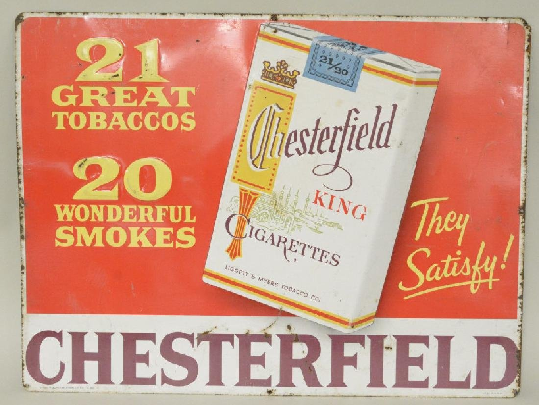 SST Embossed Chesterfield Cigarettes Adv Sign