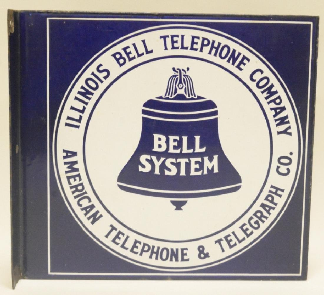 Illinois Bell Telephone Porcelain Flange sign