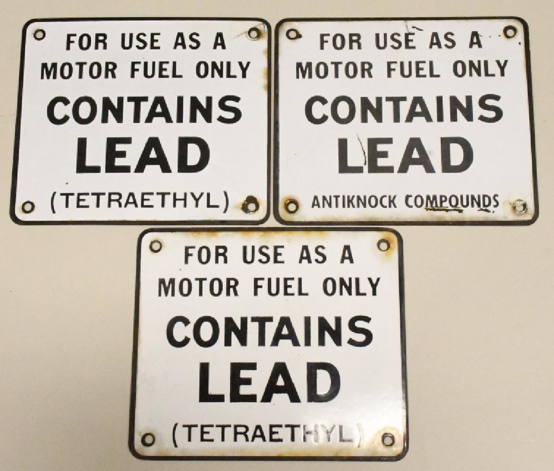 Lot of 3 Gas Pump Porcelain Pump Signs