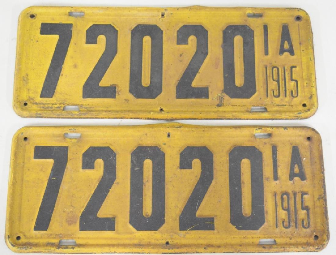 1915 Iowa License Plate Matching Set