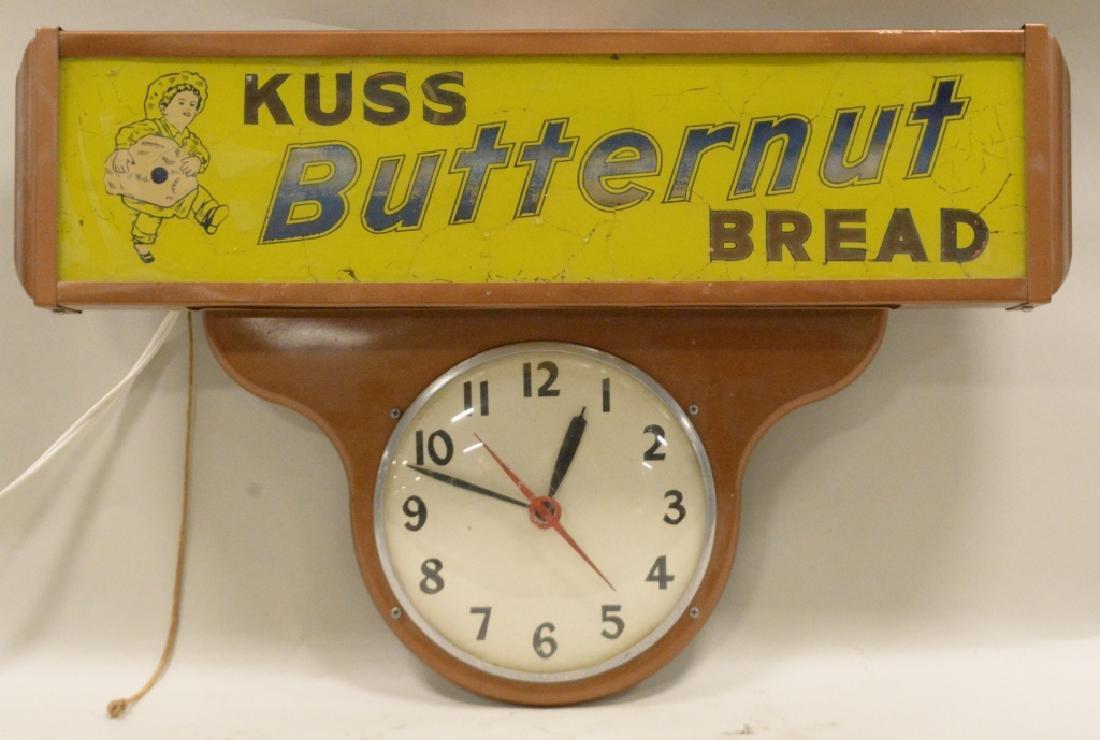 Vtg Kuss Butternut Bread Lighted Advertising Clock