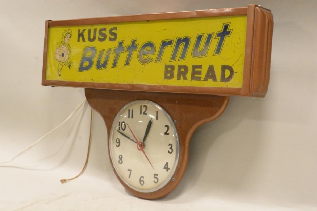 Vtg Kuss Butternut Bread Lighted Advertising Clock - 2