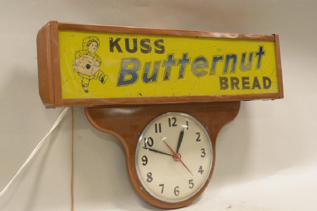 Vtg Kuss Butternut Bread Lighted Advertising Clock - 3