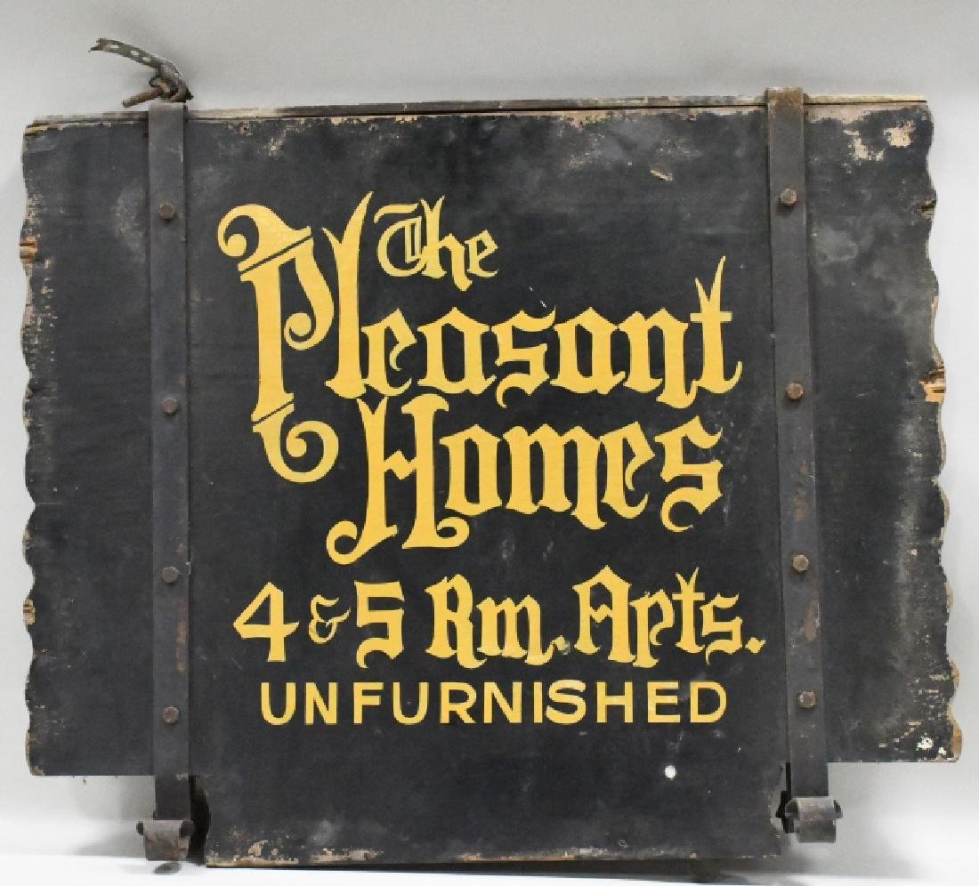 Vtg Pleasant Homes Apartment Advertising Wood Sign