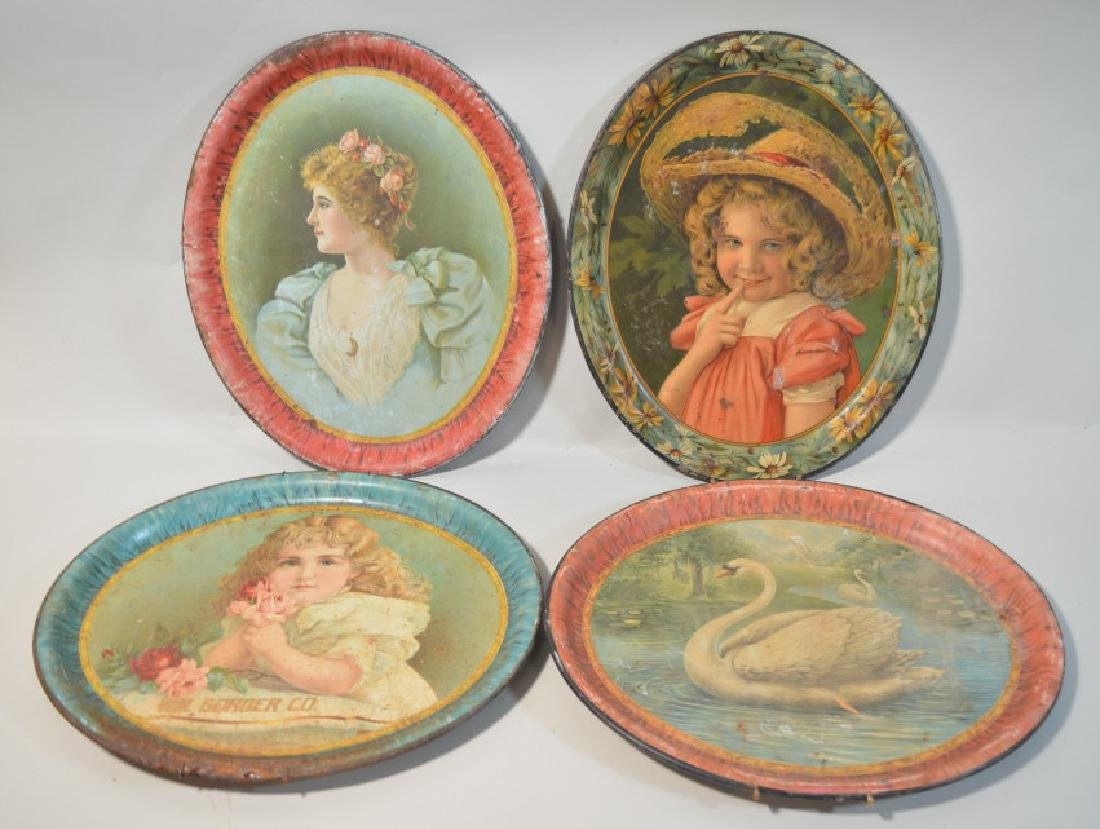 Lot Of 4 Tin Litho Advertising Serving / Beer Tray