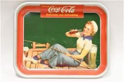 Original 1940 Coca-Cola Girl Fishing Serving Tray