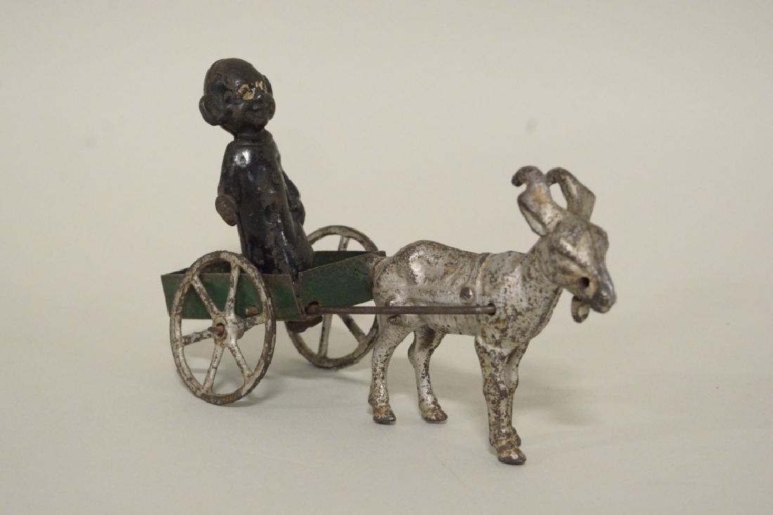 Kenton Cast Iron Yellow Kid In Goat Cart - 2